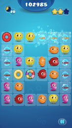Screenshot von Führe süße Fische in vielen Levels zu Dreierpaaren zusammen!