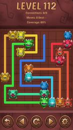 Screenshot von Verbinde zwei farbenfrohe Drachen durch eine Linie.