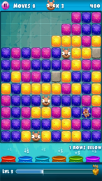 Screenshot von Befreie das Nerdy Haustiere so schnell wie möglich! Tippen Sie auf 3 oder mehr Blocks, um sie zu zerstören und Ihre Freunde freizugeben.