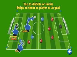 Screenshot von Das erstaunlichste Fußballspiel, das du je gespielt hast. Aktion aus dem ersten Tipp. Tippen, um zu kämpfen oder zu treiben. Wischen, um auf andere Spieler oder auf das Tor zu schießen.