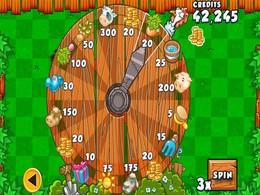 Screenshot von Tippen Sie auf Spin zu spielen. Auszahlung Tisch zeigt Gewinne. Erhöhung der Gewinnchancen durch die Erhöhung der Gewinnzahlen von 1-5.