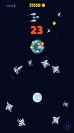 Screenshot von Lass dich nicht von dem Dinosaurier fressen! Drehe mit deinem Raumschiff Runden im All und weiche Feinden aus.
