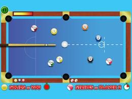 Screenshot von Spaß und süchtig Acht Ballspiel. Pocket alle deine eigenen Bälle und dann den schwarzen Ball als den letzten Ball pocket.