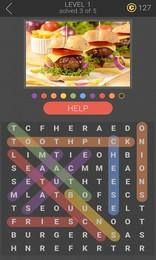 Screenshot von Ein neuer Spaß Weg, um Wort-Suche Puzzles mit Bildern für Hinweise zu spielen.