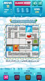 Screenshot von Bewege die Platten, um einen Pfad zum Ziel für Santa zu bilden.