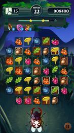 Screenshot von Verbinde die bunten Zutaten des Waldes in vielen Levels zu Dreierreihen und hilf einer Fee.