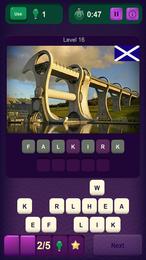 Screenshot von Sieh dir wunderschöne Bilder von Orten, Speisen und Bauwerken an und versuche, ihre Namen zu erraten. Wo steht der zweite Eiffelturm? Welches Spiel ist noch komplizierter als Schach?