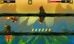 Screenshot von Baby Monkey hat sich im großen Wald verirrt und seine Mutter gefunden. Übernehmen Sie die Kontrolle und begeben Sie sich in die sehr abenteuerliche endlose Fahrt, indem Sie Hindernissen ausweichen und Bananen sammeln.